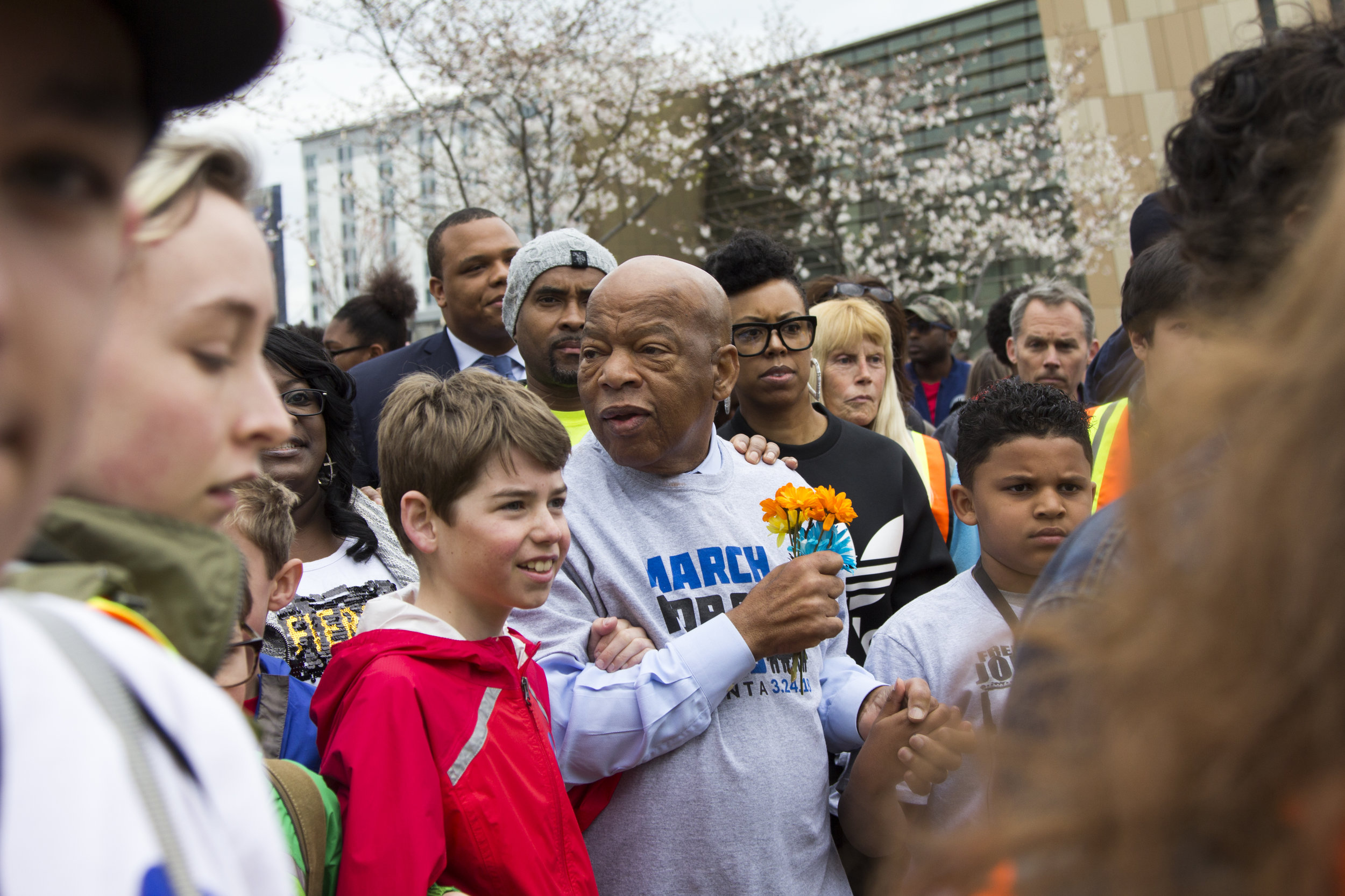 Congressman John Lewis marches with students during the March for Our Lives event in Atlanta, Georgia, on Saturday, March 24, 2018. The march, started and organized by students and activists at Marjory Stoneman Douglas High School in Parkland, Florida, brought a crowd of 30,000 to the streets of Atlanta to protest the lack of action taken to prevent gun violence, especially in schools.