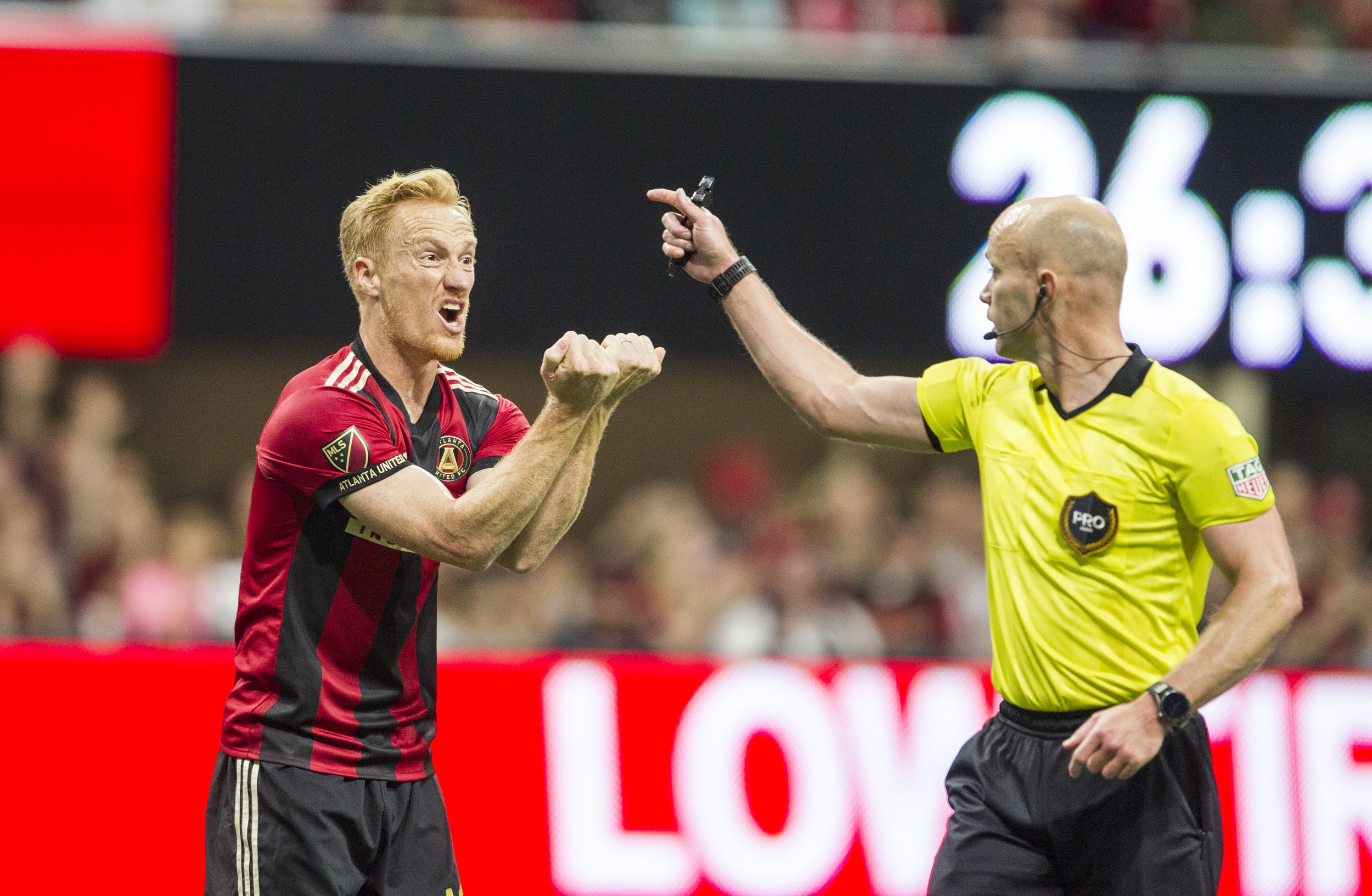 Atlanta United midfielder Jeff Larentowicz (18) reacts to a call from the referee during the match between NYC FC and Atlanta United at Mercedes-Benz Stadium in Atlanta, Georgia, on Sunday, April 15, 2018.