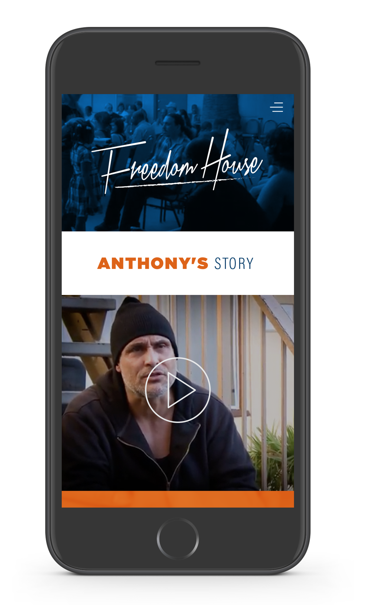 Testimonials - The mobile version of the testimonial page would include videos from patients who had first hand success at the Freedom House.