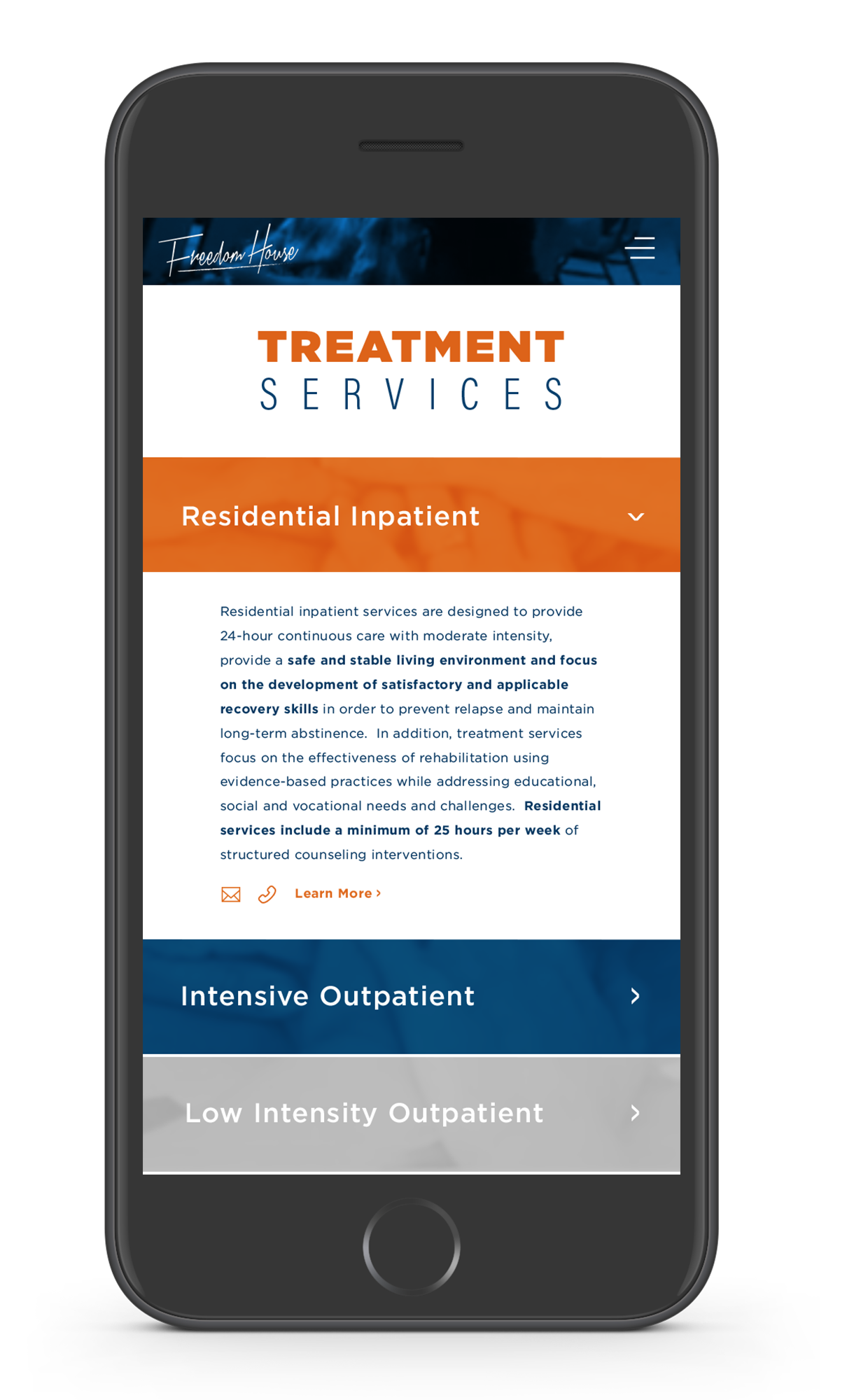 Treatment Services - The mobile version of the treatment page shows different drop down of each specific service to keep the information condensed & not overwhelm the user.
