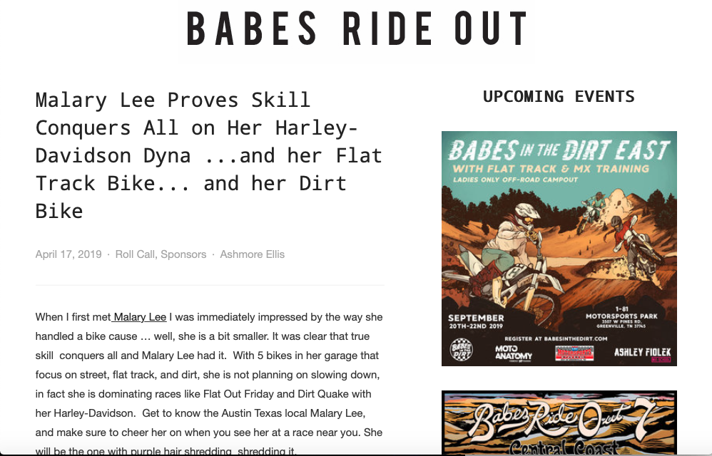 Babes Ride Out Malary Lee