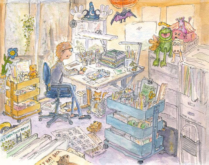 Happily working in my cluttered art studio.
