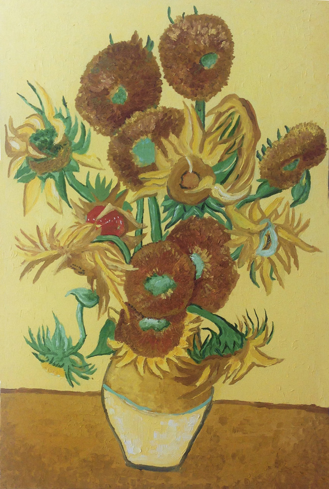 My oil painting version of ref.: Sunflowers   (F458) - 1889 by Vincent Van Gogh