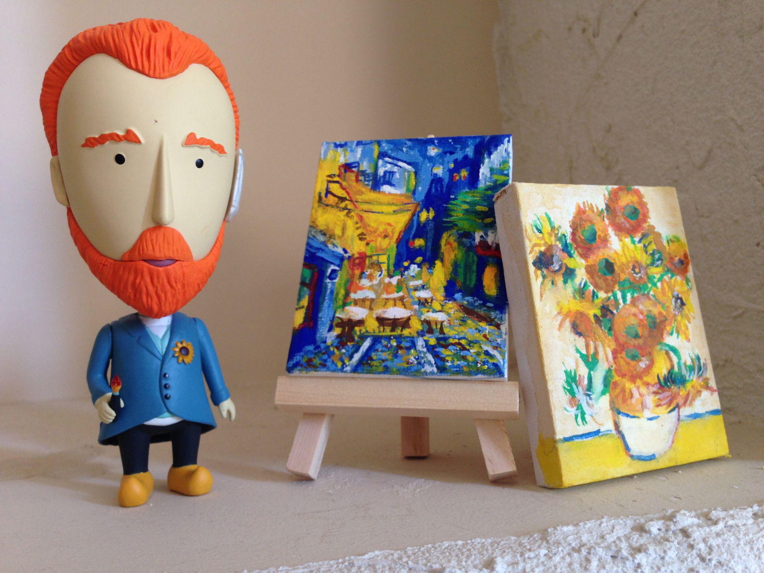 """My tiny gouache paintings.   Ref.:    Café Terrace at Night (F467) & 1888 & Sunflowers (F458)- 1889    Vincent van Gogh figurine is from """"Today is Art Day"""" online store."""