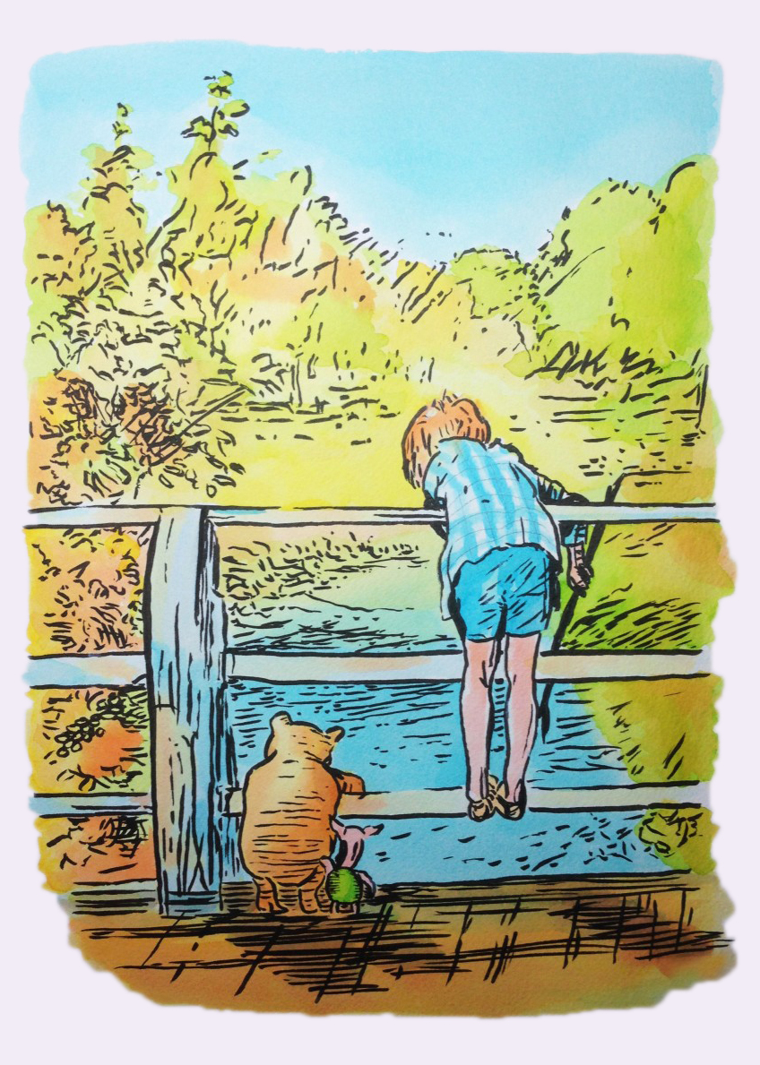 My ink watercolour version of E.H Shepard's Christopher Robin and friends leaning over the railings of Pooh Bridge  watching the river slipping slowly by.