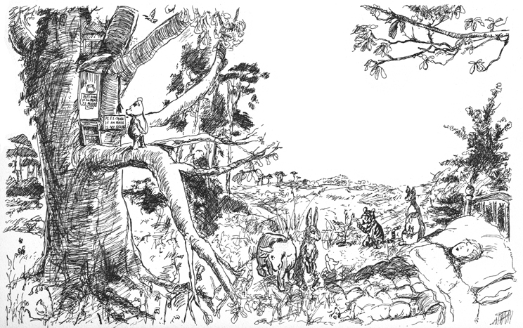 Several variations of E.H. Shepard's drawings combined into a single composition.