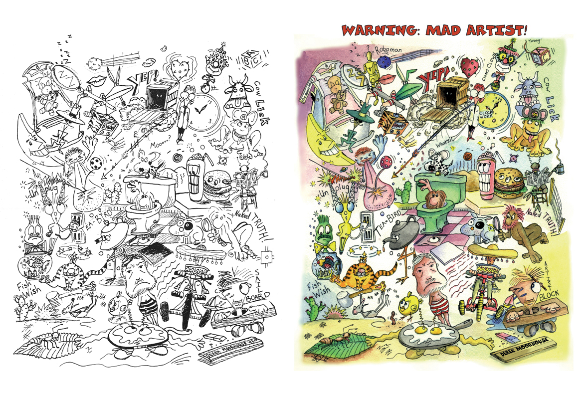 My ink line art and watercolour of the  Mad Artist  picture.