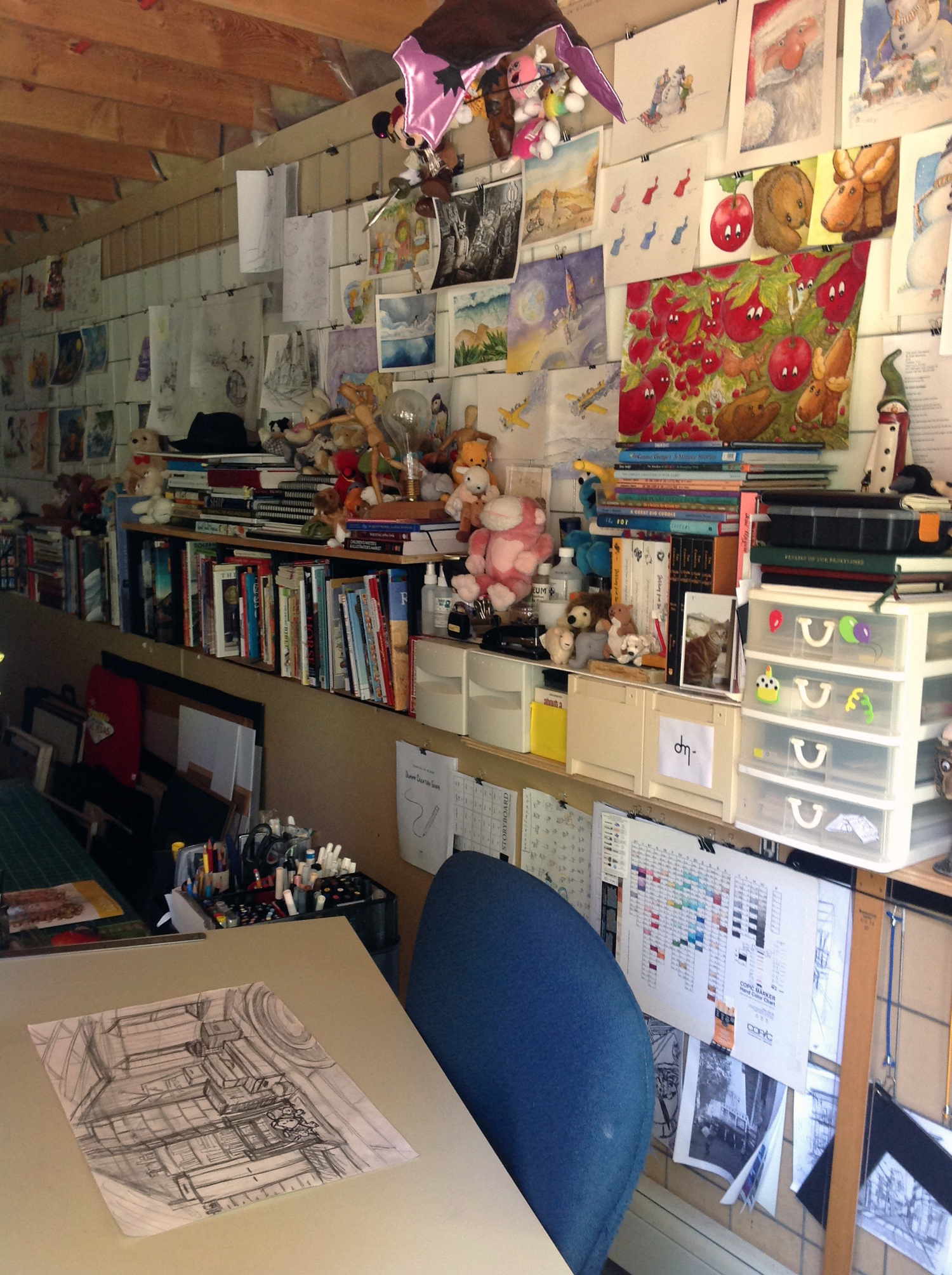 My studio wall with several projects in the work in process (wip) mode.
