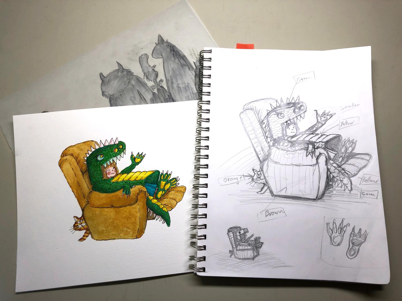 dragon watercolour