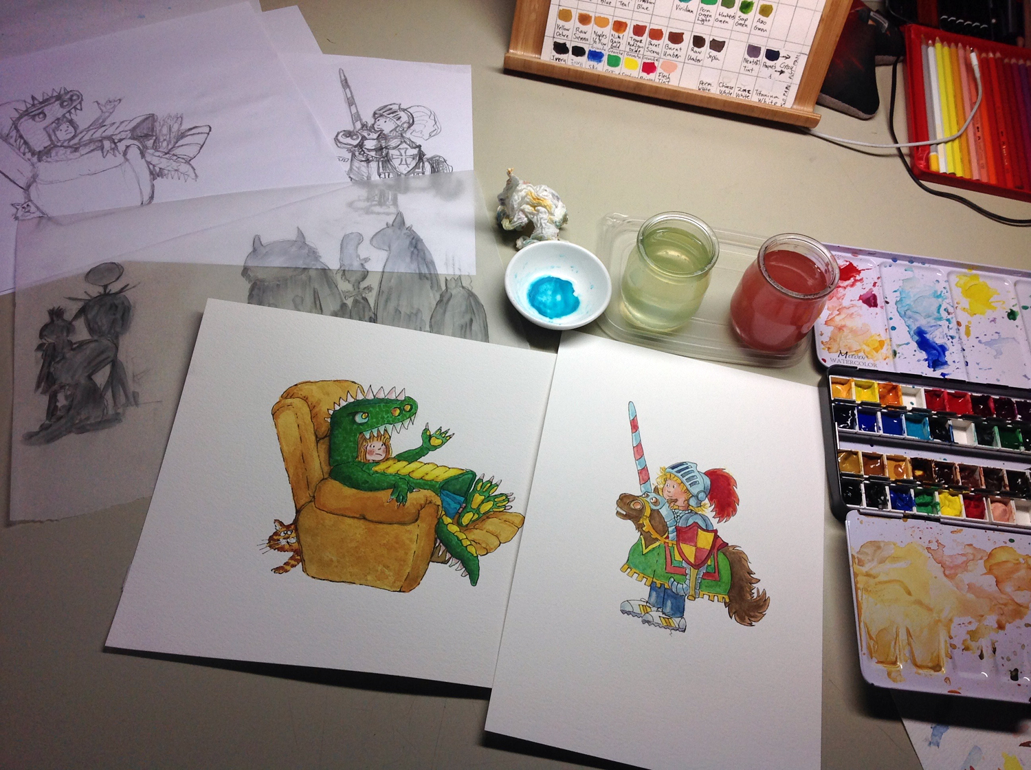 dragon and knight watercolours