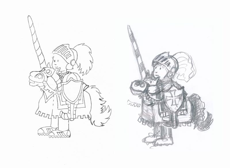 pen-ink  pencil knight