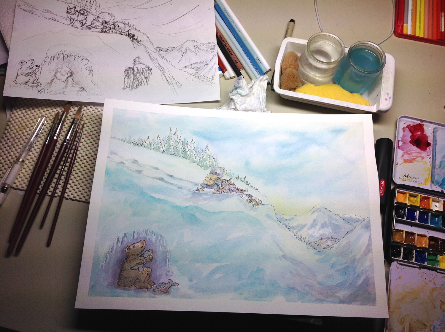 Sketch with finished painting before wind/snow marks.