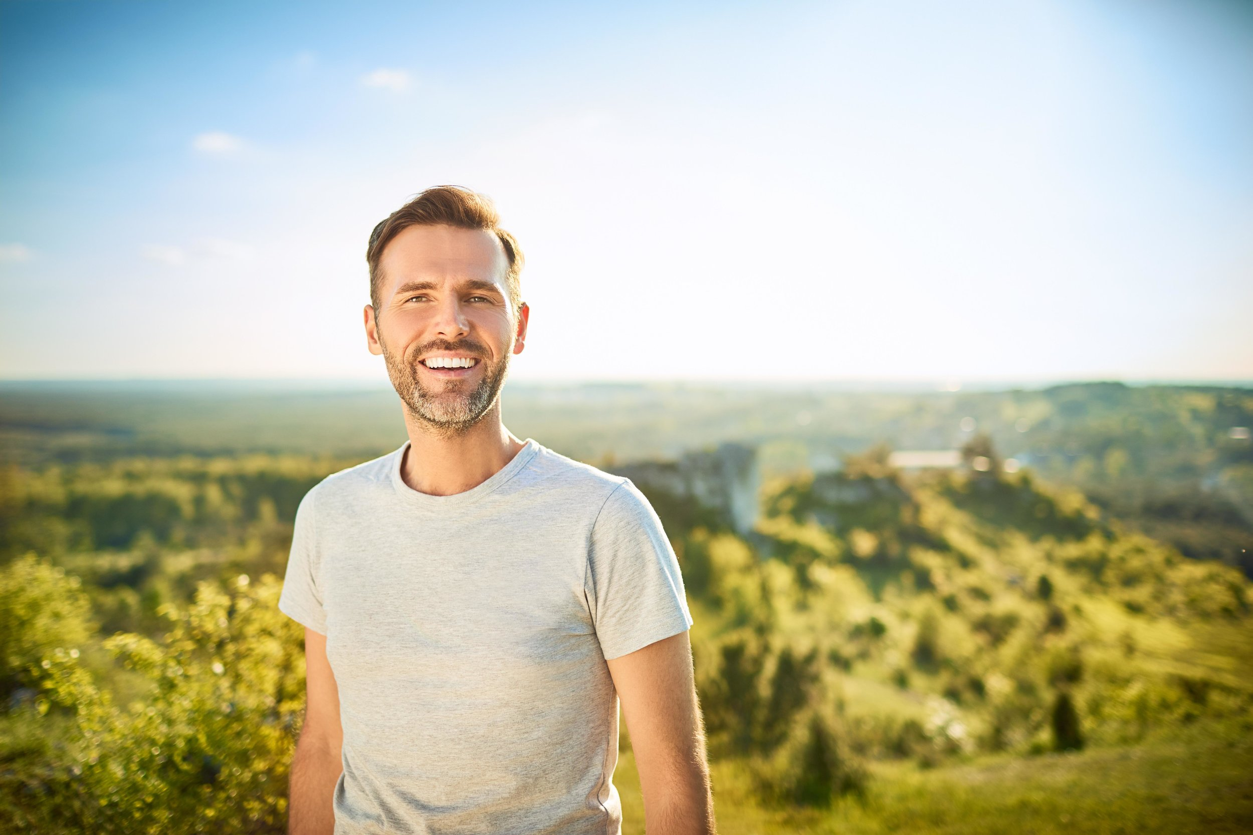 Man Outdoors in Scenic Area
