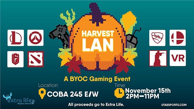 Our Esports club presents: Harvest LAN •  Harvest LAN will be part of their annual contribution to @extralife4kids so please come and support the cause! - 💵 All proceeds will go to charity - 🗓 November 15 2-11PM - 🗺 COBA 245E/W  More info:  https://facebook.com/events/581138309289450/?ti=icl