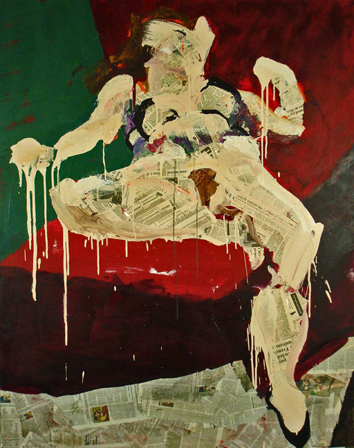 C. Reclining  Acrylic and collage on canvas, 60 x 48 inches, 2007  Inquire