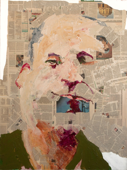 Guardian Self Portrait  Acrylic and collage on canvas mounted on panel, 48 x 36 inches, 2007  Inquire