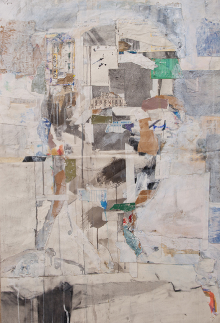 NYSS Self Portrait  Collage, ink, gesso, acrylic, charcoal, and graphite on paper, 30 x 20 inches, 2002-12 Private collection, London  Created from paper found in the New York Studio School drawing room. I carried this work with me for ten years before figuring out how to crop and finish it.
