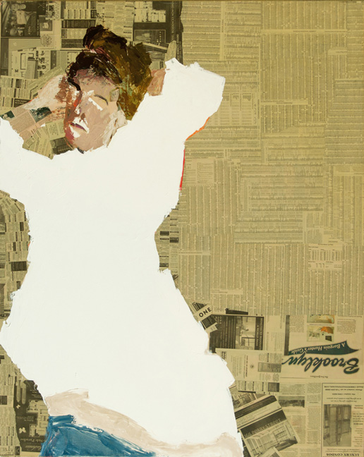 Sara White Shirt  Acrylic and collage on canvas, 60 x 48 inches, 2008  Inquire   Sara was a model I met at the Studio School. I worked with her for a number of years before she left New York to go work on an organic farm down south.