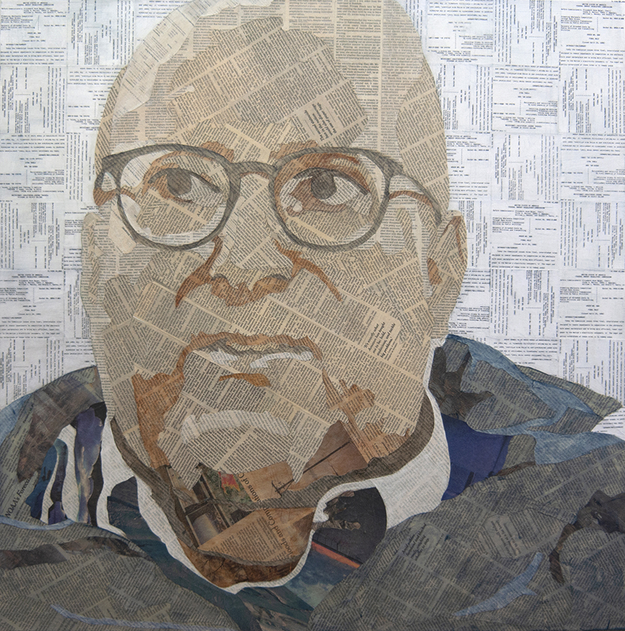 Sid  Collage material from F.E.R.C. Order No. 888, April 24, 1996, and the  New York Times , acrylic, gesso, and pencil on canvas, 30 x 30 inches, 2019 Private Collection, Charleston, VA  A portrait of an old college friend commissioned for his 60th birthday.