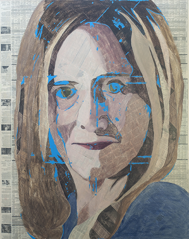 Samantha Bee  Collage material from the  New York Times , acrylic, gesso and pencil on canvas, 60 x 48 inches, 2016  For Samantha Bee, I used the  New York Times  from the presidential election because I relied on her humor to get me through this dark period.  Inquire
