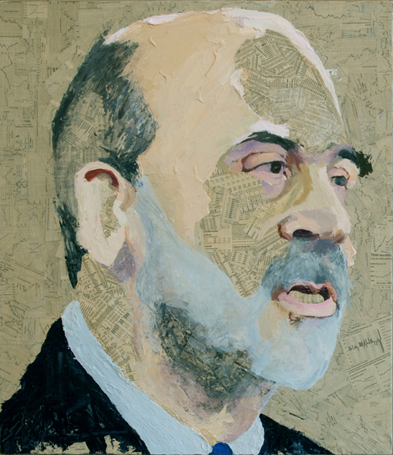 Ben Bernanke  Collage material from the  Wall Street Journal  and acrylic on canvas, 30 x 26 inches, 2009 Private Collection, NYC