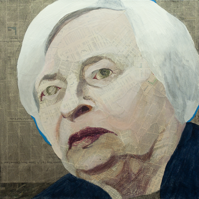 Janet Yellen  Collage material from the  New York Times  Business Section and  Wall Street Journal , acrylic, gesso and pencil on canvas, 30 x 30 inches, 2014 Private collection, NYC  For a commissioned portrait of Janet Yellen I used text from the  New York Times  and the  Wall Street Journal.