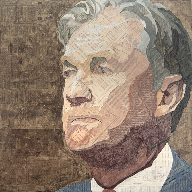 Jerome Powell  Collage material from the  Wall Street Journal  and  The New York Times , acrylic, gesso, and pencil on canvas, 30 x 30 inches, 2018 Private collection, NYC  For a commissioned portrait of Jerome Powell I used text from the  New York Times  and the  Wall Street Journal.