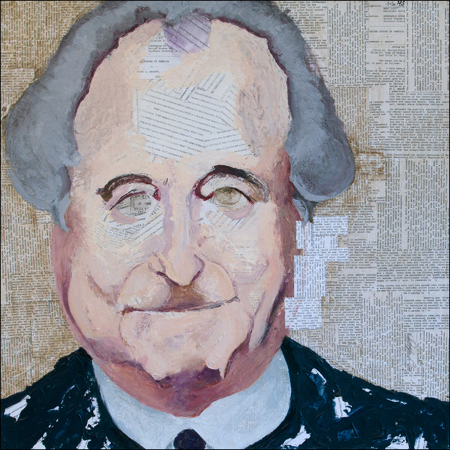 Madoff   SEC and Dept. of Justice complaints against Madoff & acrylic on canvas, 30 x 30 inches, 2009  Inquire