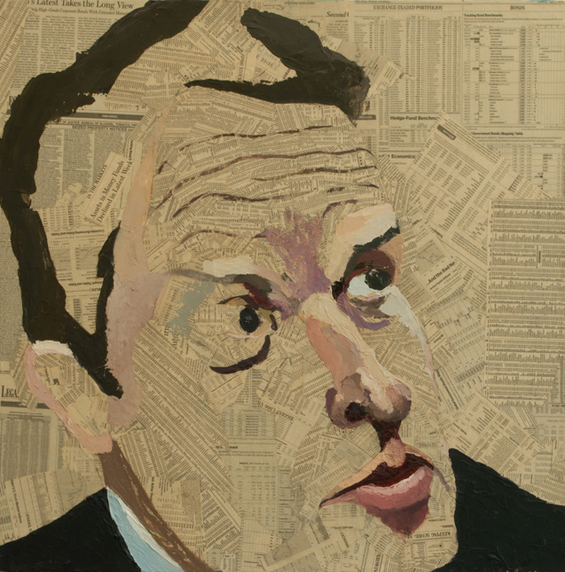 Tim Geithner  Collage material from the  Wall Street Journal  and acrylic on canvas, 30 x 30 inches, 2009  Inquire