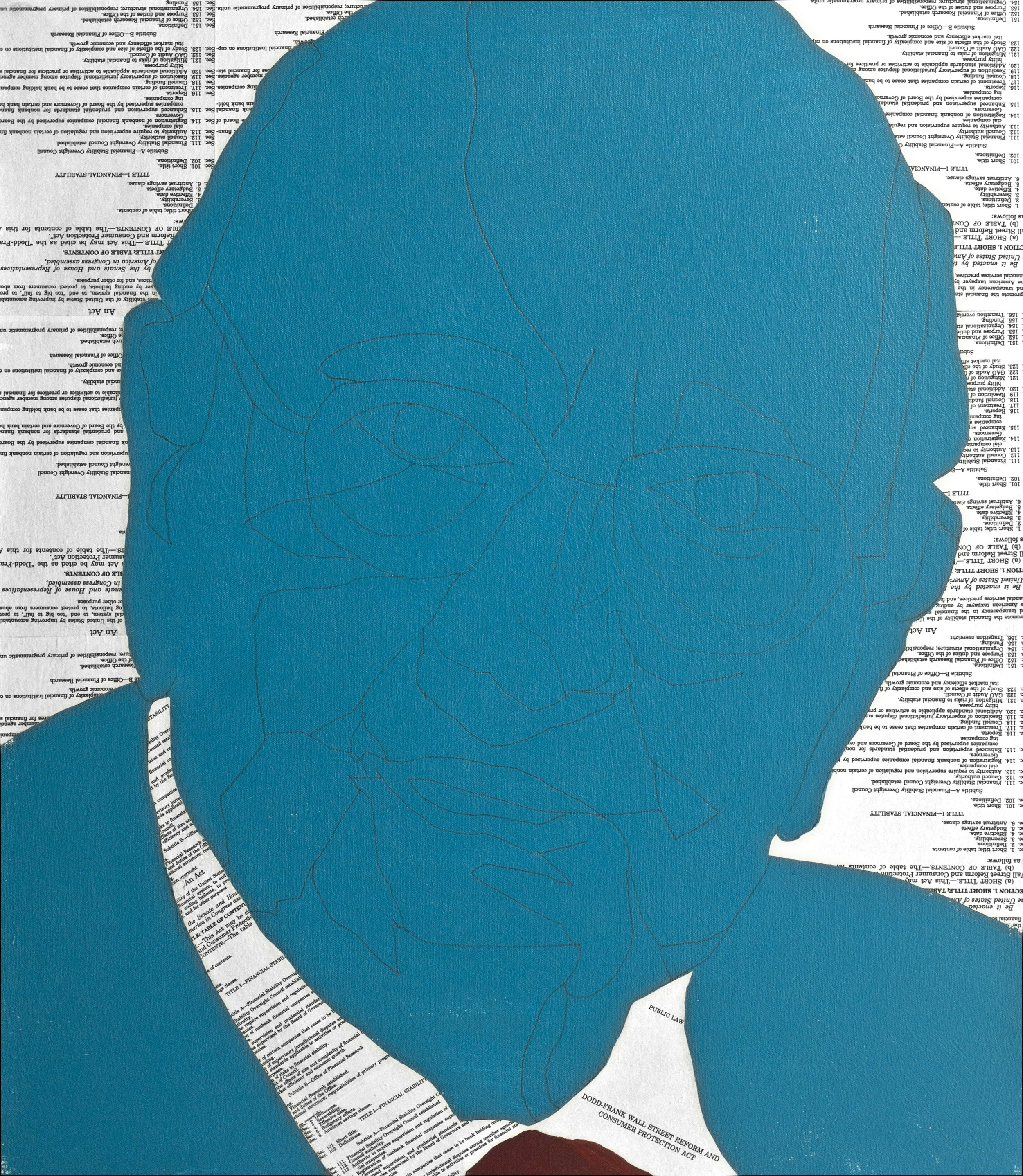 Volcker Too  Pencil, acrylic and collage material from the Volcker Rule section of the Dodd Frank Act on canvas, 30 x 26 inches, 2014  Inquire