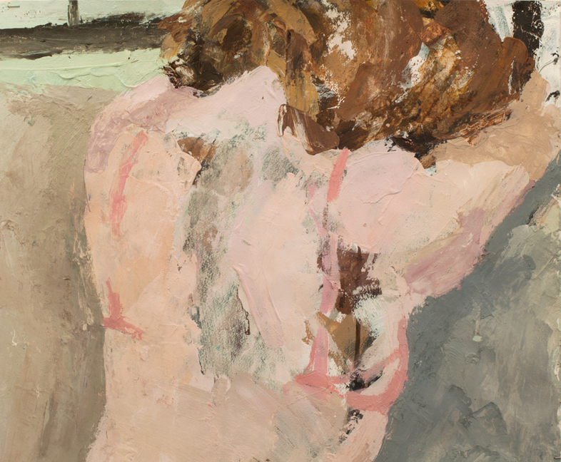 Aly (Pink Bra)  Pencil, charcoal, gesso, ink, acrylic, tape, and varnish on paper, 17 x 20.5 inches, 2011 Private Collection, NYC