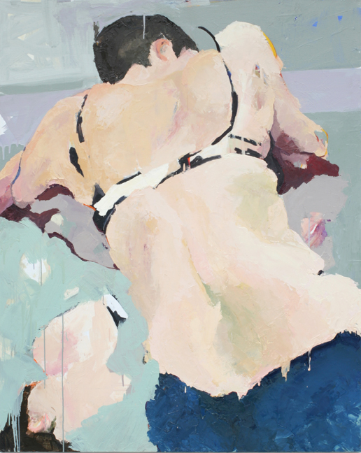 Back, Again  Oil on acrylic on canvas, 60 x 48 inches, 2005  Inquire   Painted from life in fall 2005 in the life room at Slade School of Fine Art, London. The model was Chrystelle, who I worked with throughout my time in London.