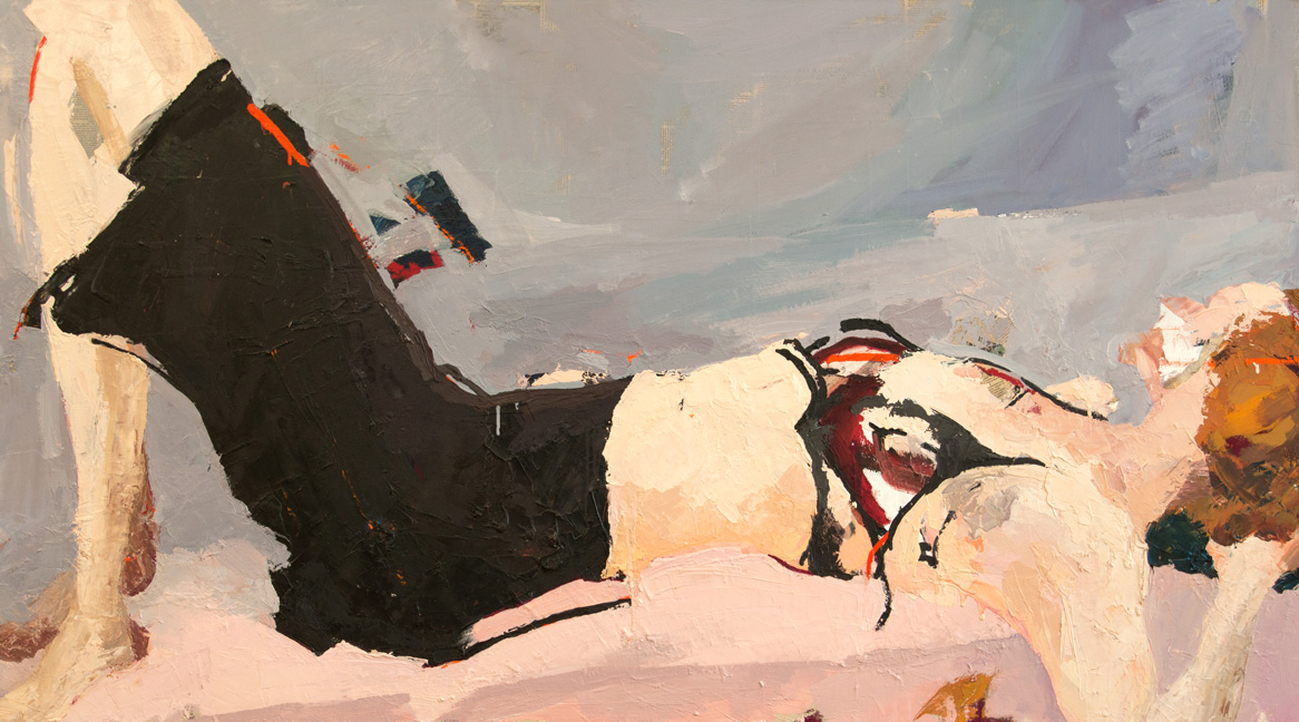 If Not Now, When?  Oil on acrylic and collage on canvas, 40 x 72 inches, 2007-08  Inquire   Painted from life in my NYC studio after finishing my MFA at the Slade School of Fine Arts. I wanted to utilize the model's black pencil skirt as a geometric form offsetting the more organic shapes of the figure.