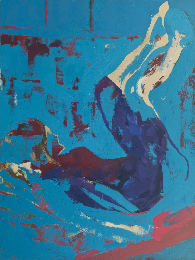 Blue Dreaming  Acrylic on canvas, 48 x 36 inches, 2014 Private Collection, Oakland, CA  Painted from life in NYC. Aly was the model, and she was posing on my red studio couch pushed against the window, while wearing a black dress. The dress was featured in a series of works Aly modeled for. This work was painted on a maroon ground with the blue worked over it to erase any marks that were unnecessary.