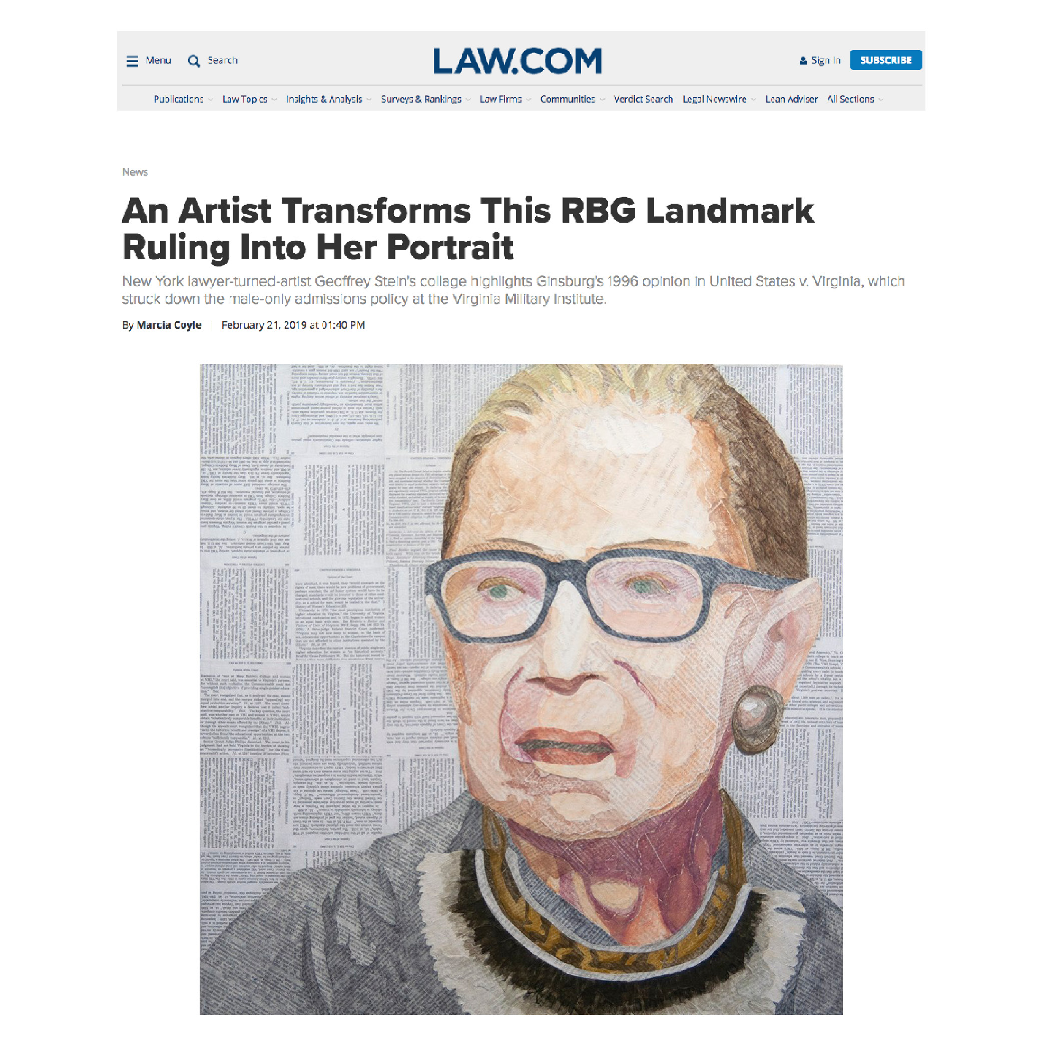 RBG's Words are a literal work of ArtMarcia Coyle, National Law Journal February 21, 2019 -