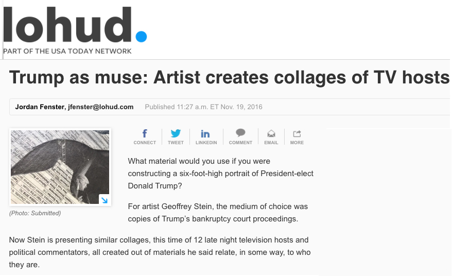 Trump as muse: Artist creates collages of TV hostsJordan Fenster, LoHudNovember 19, 2016 -