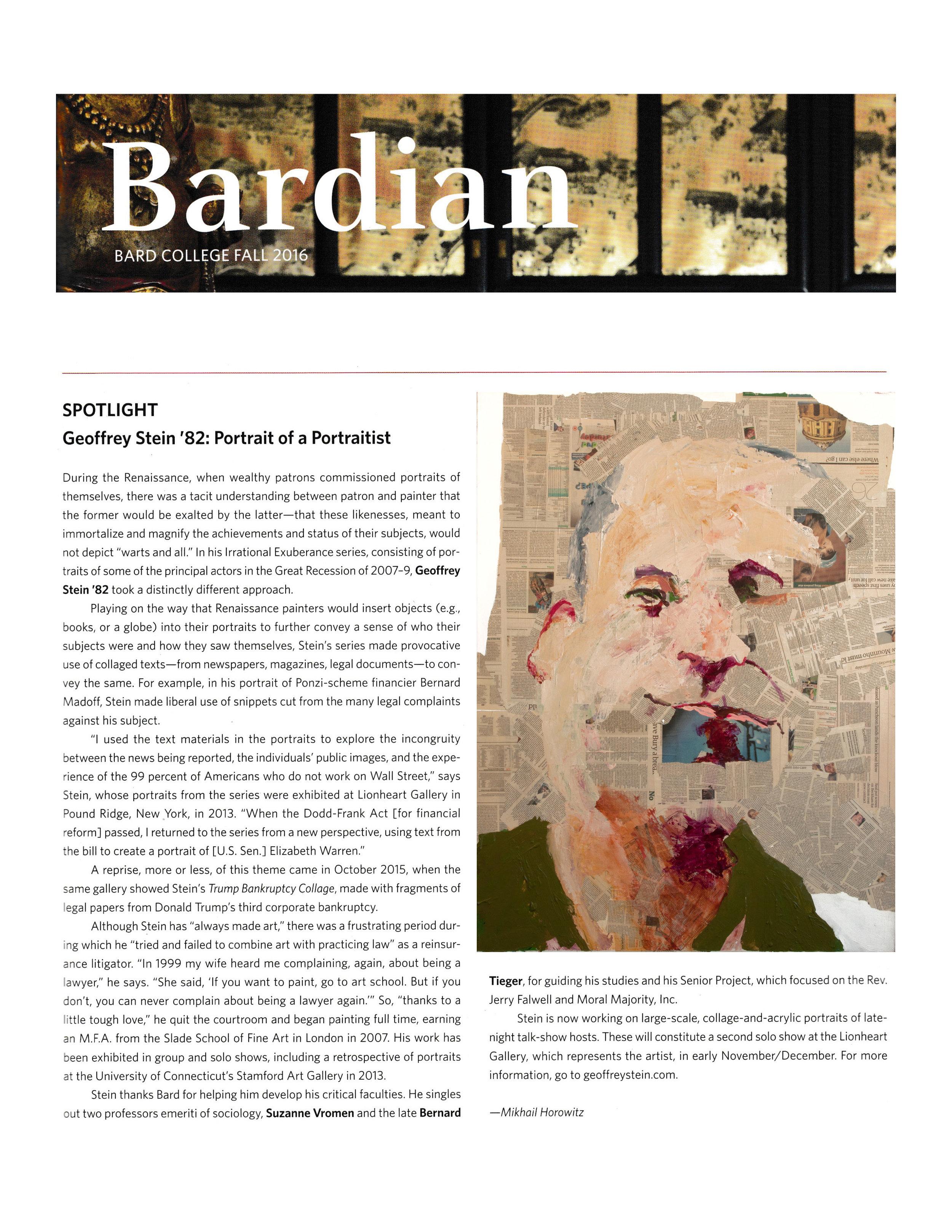 Spotlight: Geoffrey Stein '82, Portrait of a PortraitistBardian MagazineFall 2016 -
