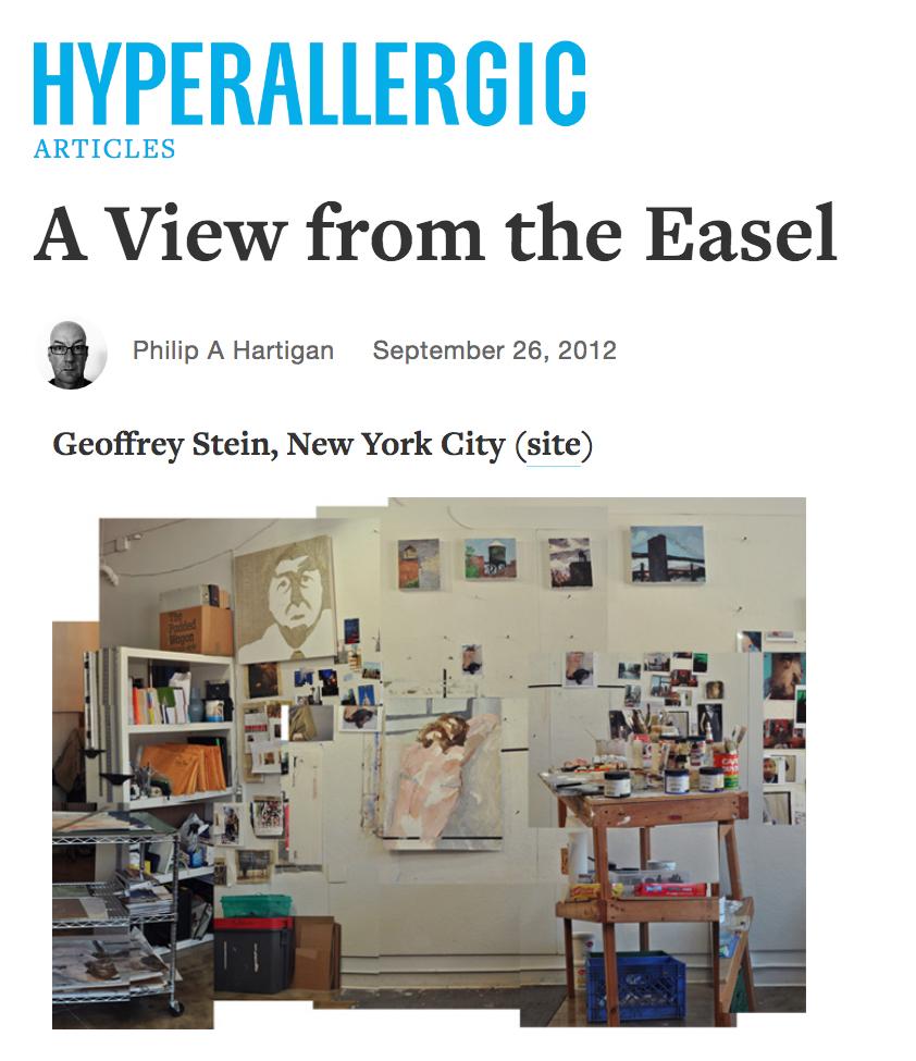 A View from the EaselPhilip A. Hartigan, Hyperallergic, September 26, 2012 -