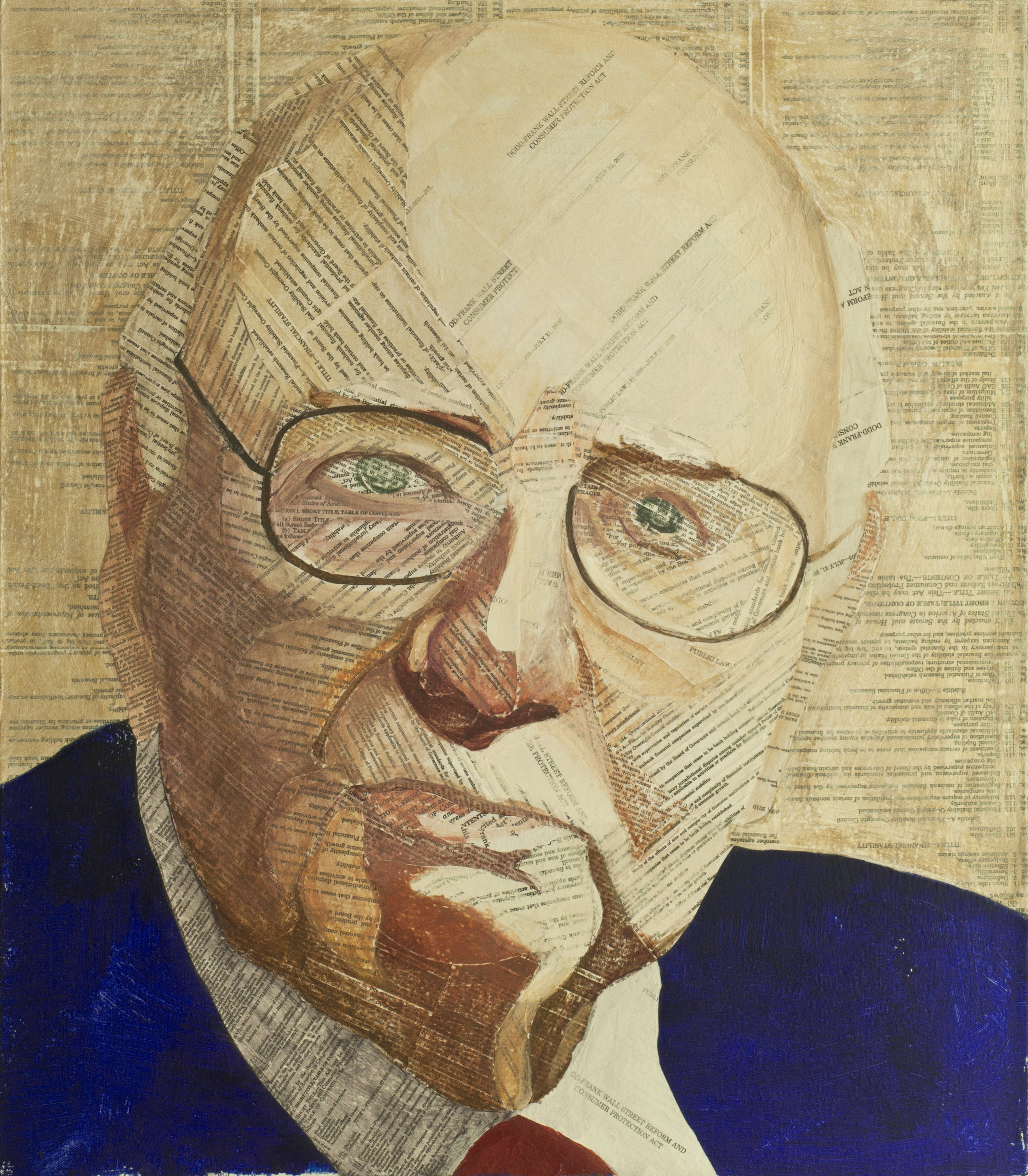 Volcker Rules  Pencil, collage material from the Volcker Rule section of the Dodd Frank Act and acrylic on canvas, 30 x 26 inches, 2014 Private collection, NYC  For a commissioned portrait of Paul Volcker I used the Volcker Act section of the Dodd-Frank Act.