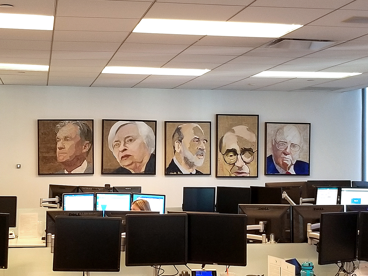 The Fed Chair series, installed at Gerstein/Fisher, 2019.