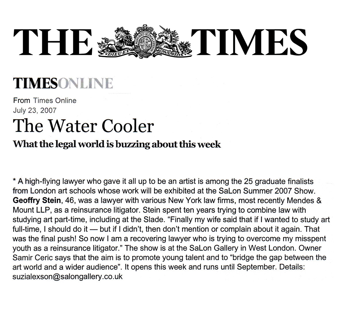 The Water CoolerLondon Times OnlineJuly 23, 2007 -