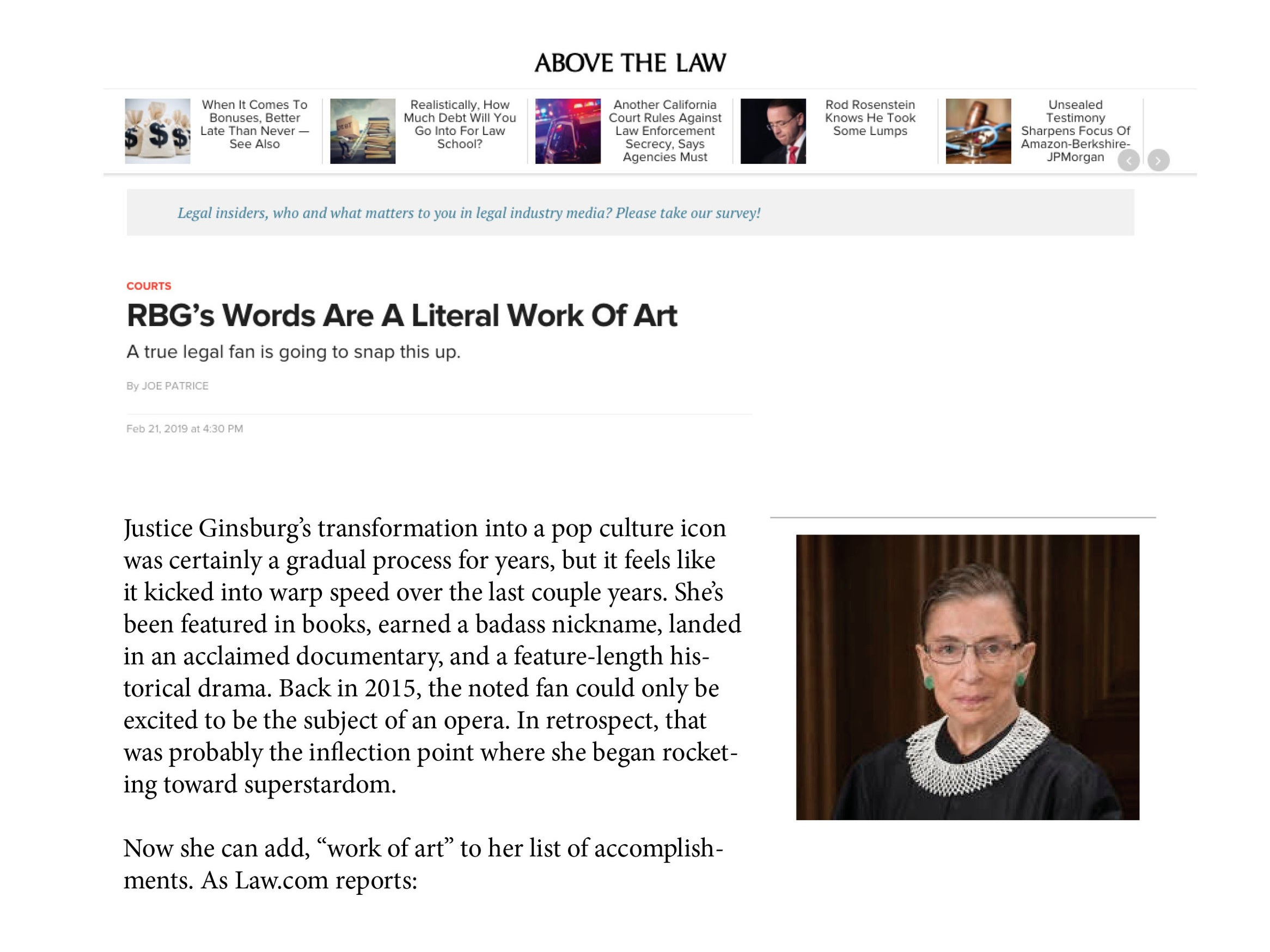 RBG's Words Are a Literal Work of ArtBy Joe PatriceAbove the Law, February, 2019 -