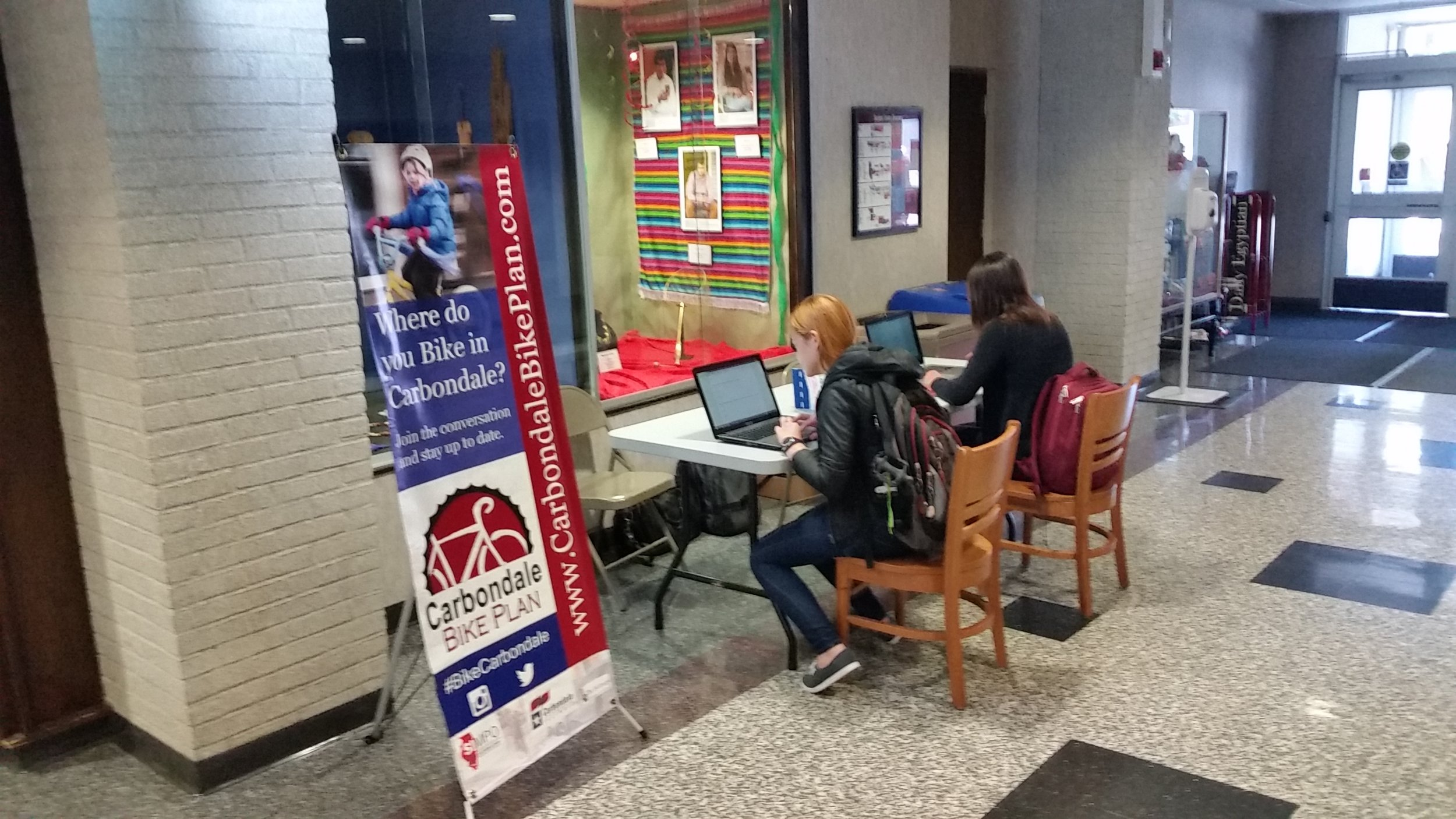 Students at SIU take the survey for the bike plan.