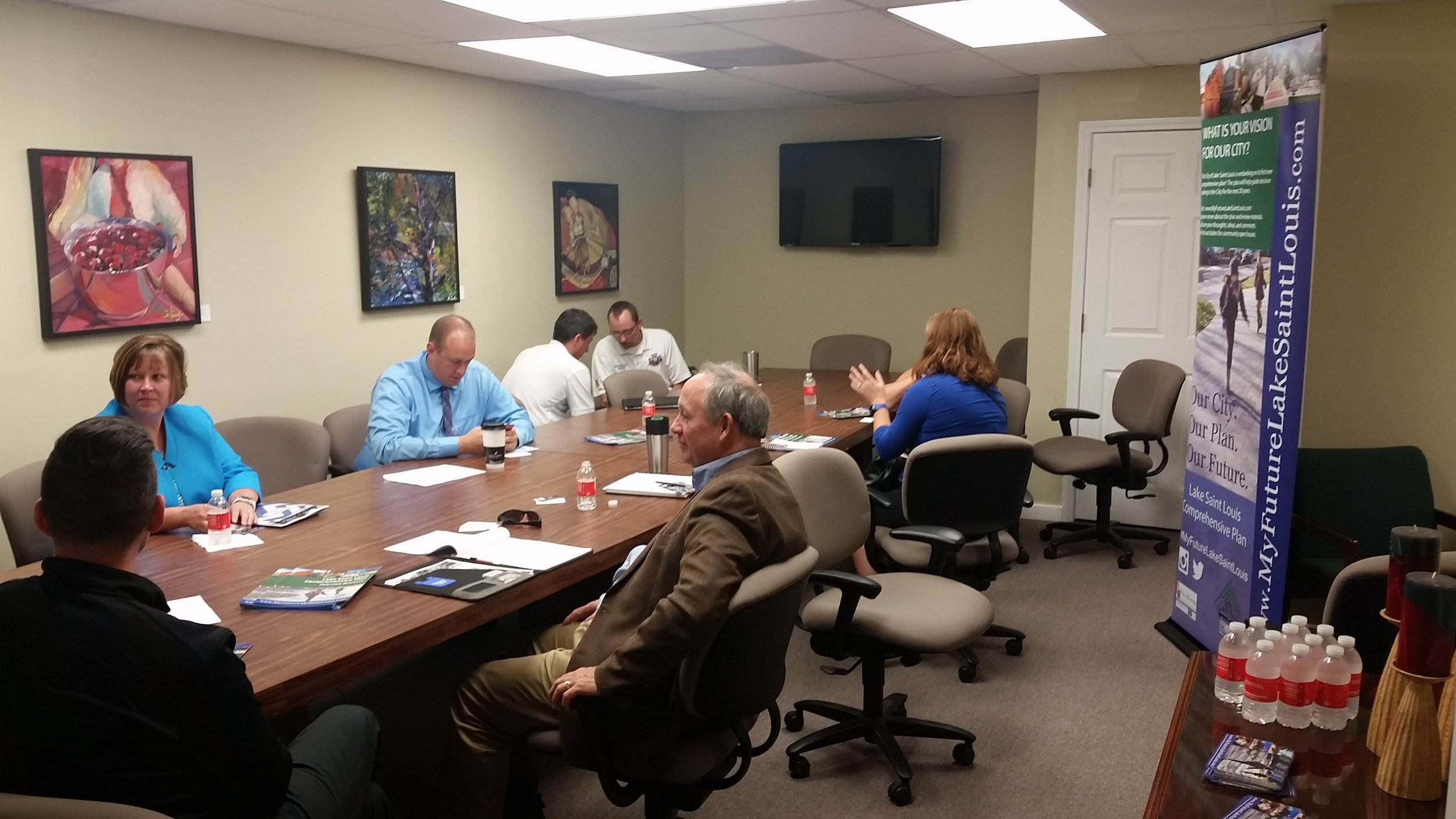 A focus group meeting with the Chamber of Commerce.