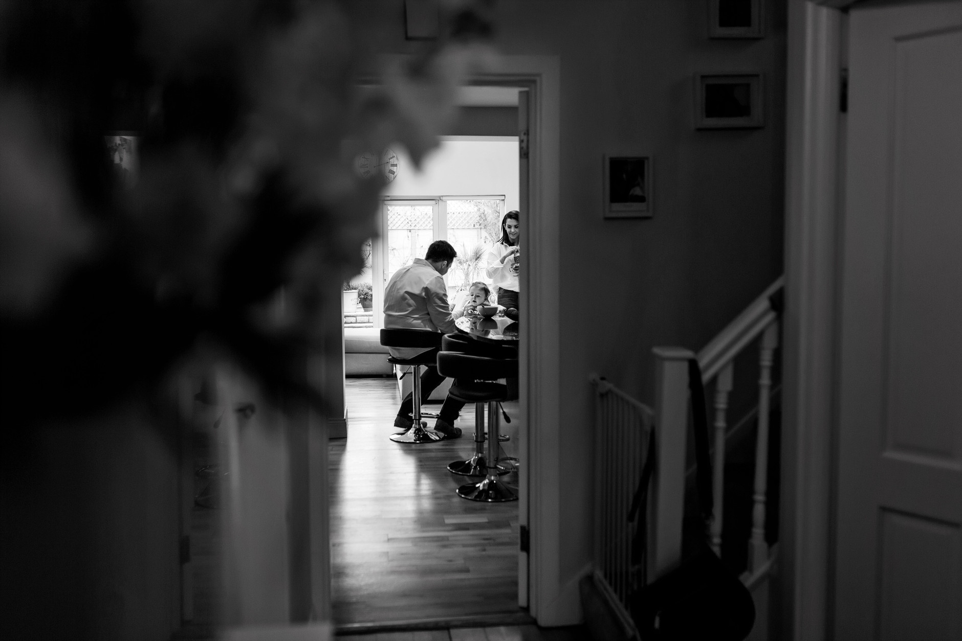 Family of three eating lunch in their home in Dublin