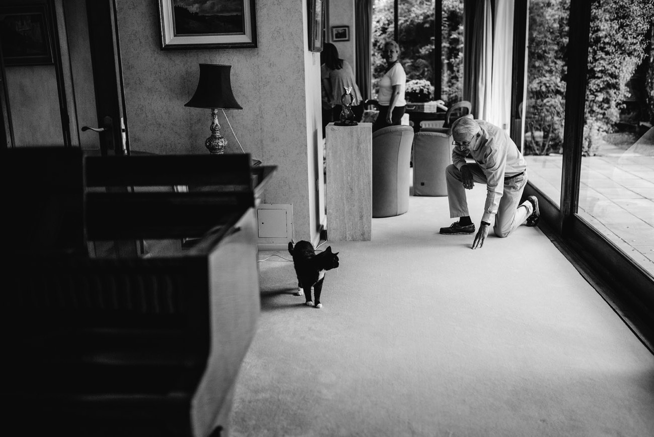 Grandfather at home in Dublin playing with the cat