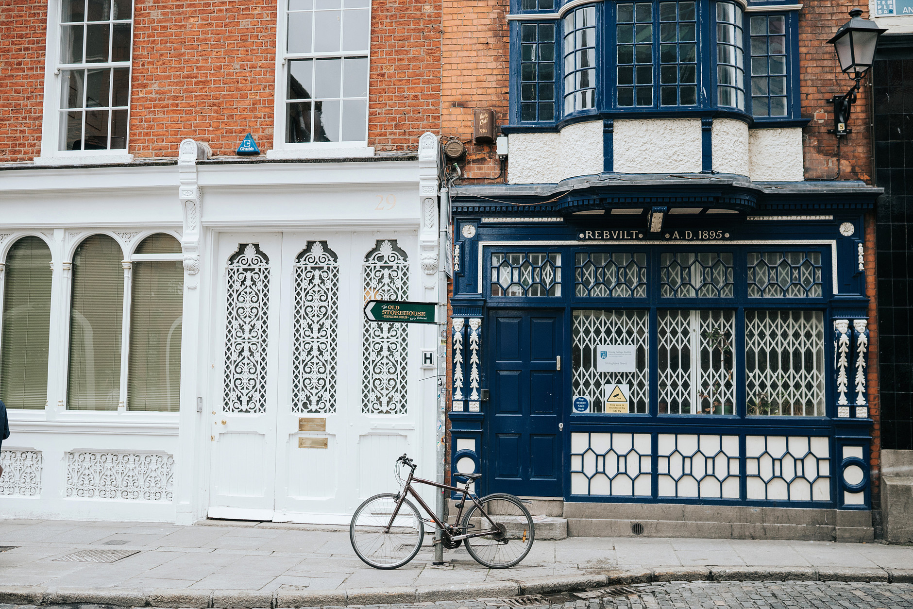 Street photo of Dublin with pretty blue building