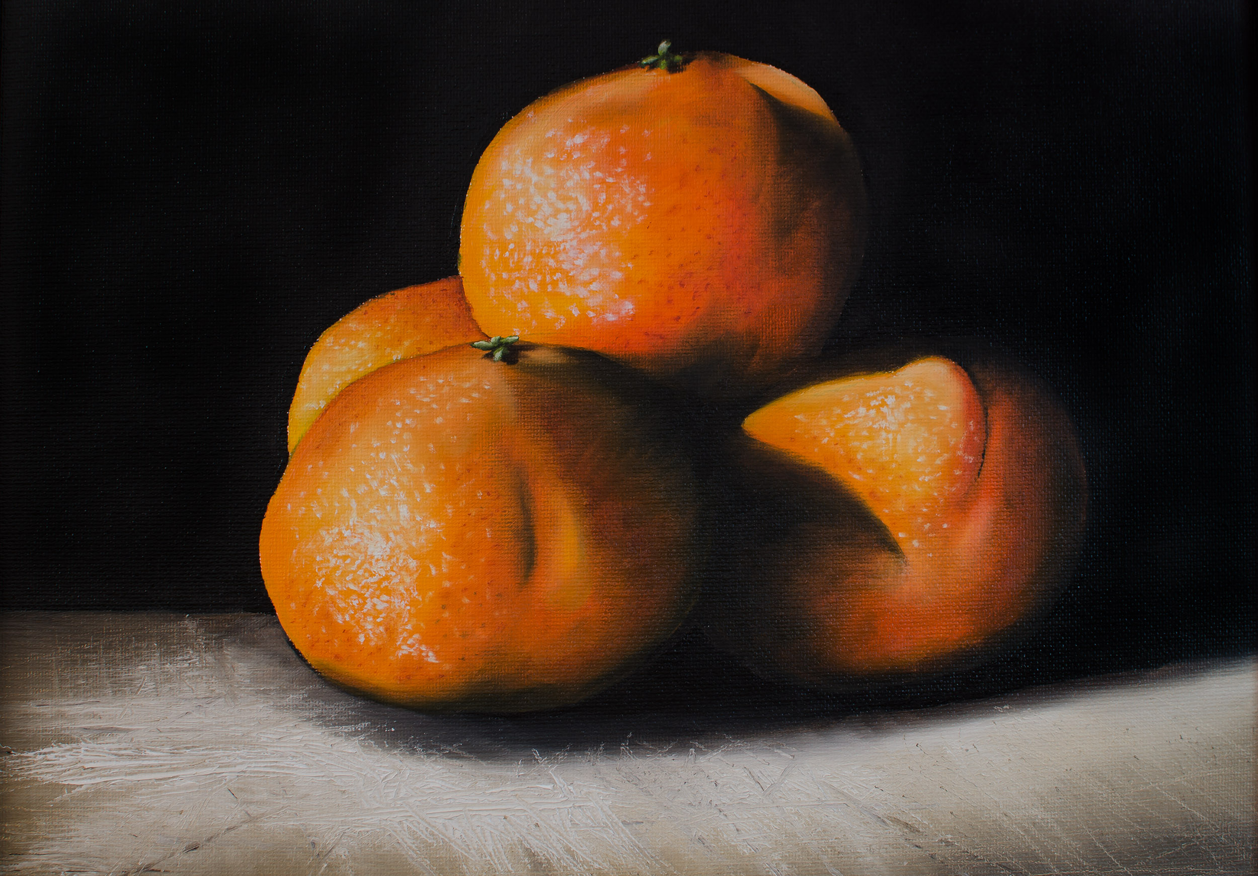 """FOUR TANGERINES   Oil on canvas panel, 11x14"""", 2015 (Private collection)"""