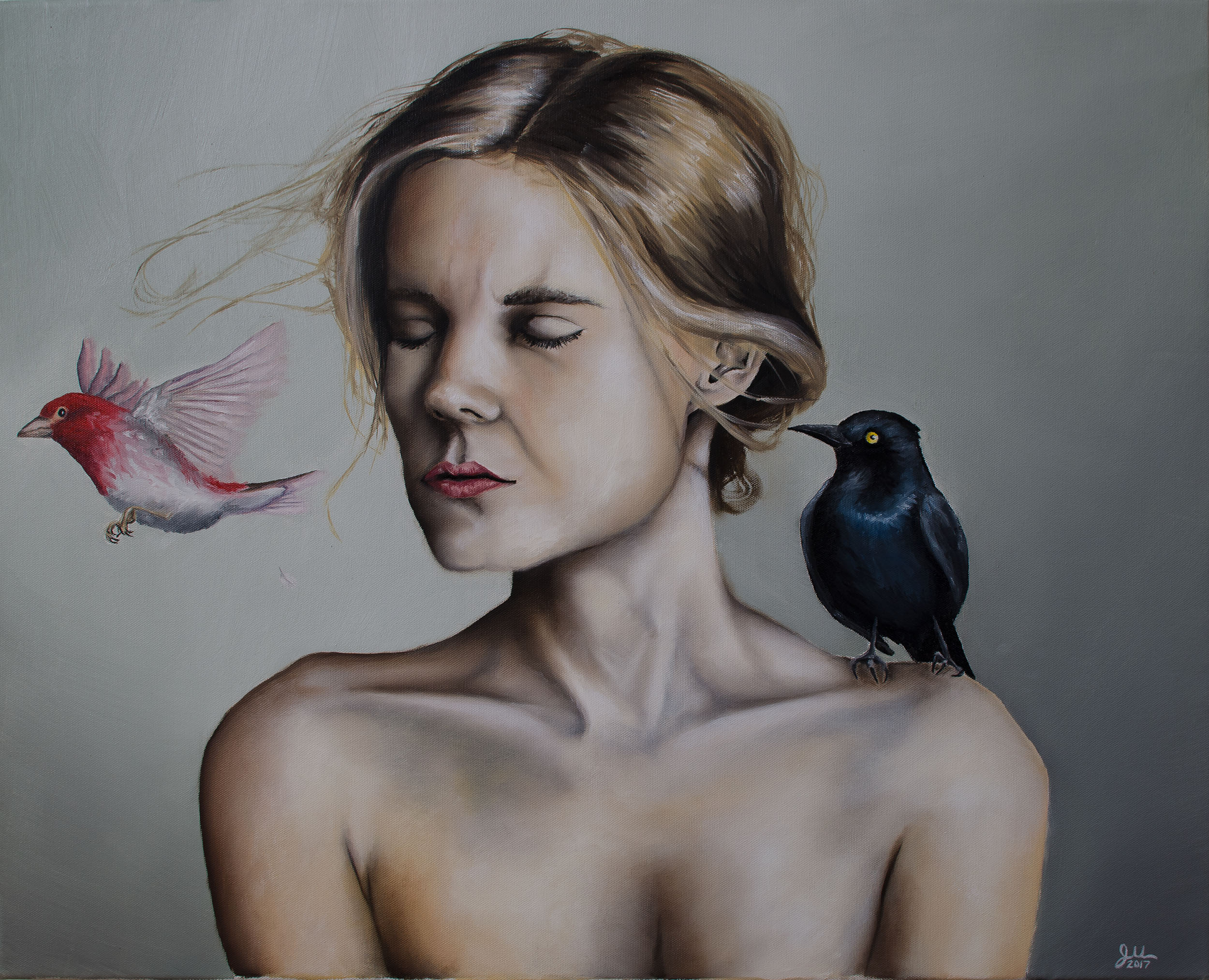 """BLACKBIRD   Oil on canvas, 24x30"""", 2017 (Private collection)  Selection for the 2017 Annual Juried Exhibition, MacRostie Art Center, Grand Rapids, MN"""