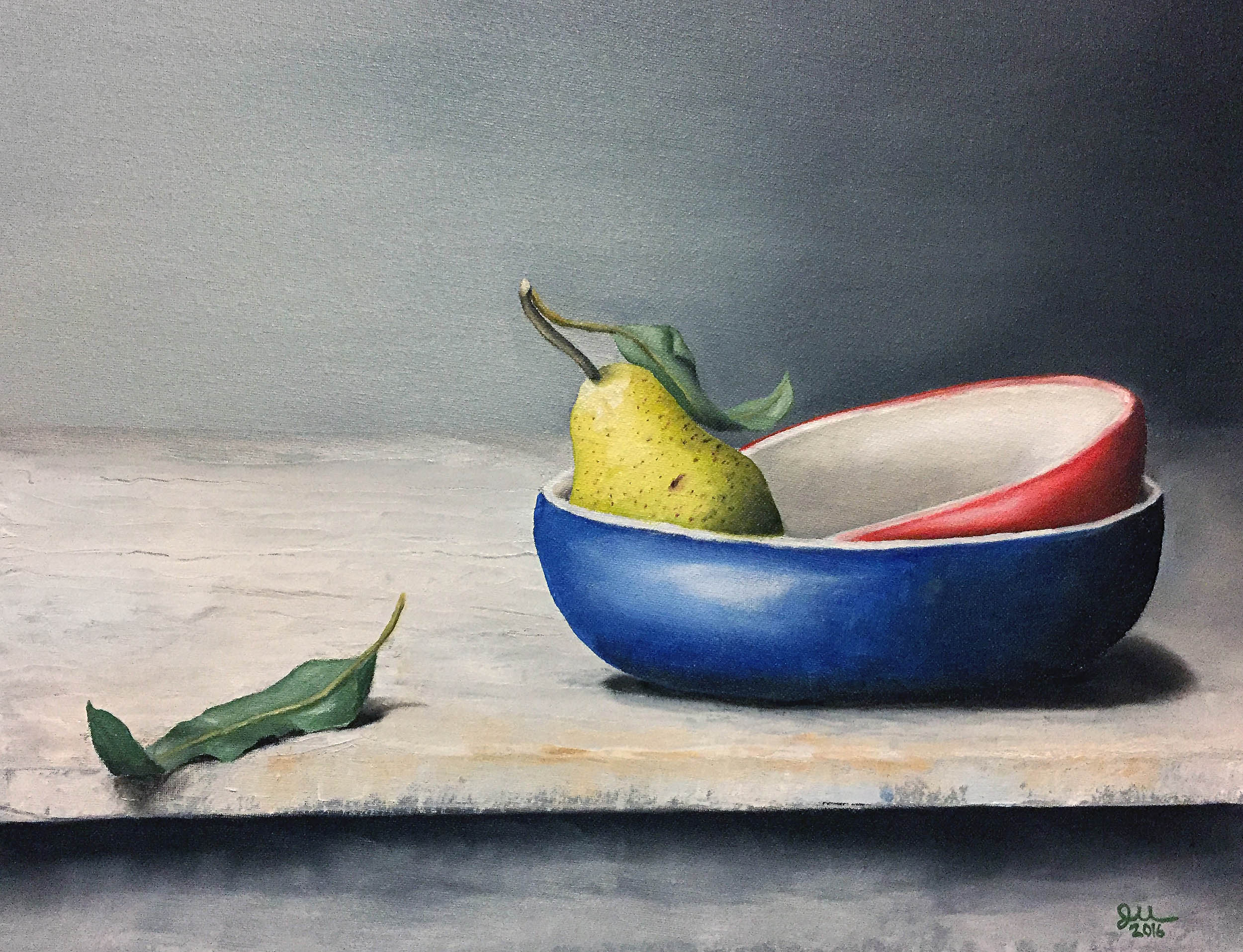 """PEAR WITH BOWLS   Oil on canvas panel, 14x18"""", 2016"""